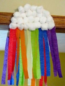 Cloud and Rainbow Decorations, half a paper plate, cotton balls, strips of tissue paper