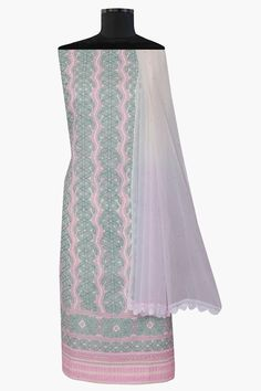 #Ada #handembroidered Cream #Cotton #Lucknowi #Chikan #Unstitched Suit Piece–A590869 offers a comfortable and relaxed silhouette to the wearer, the fabric and embroidery is skin friendly