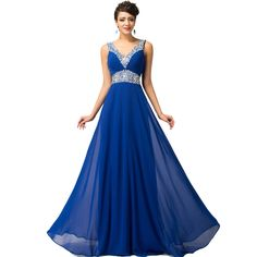Free Shipping Grace Karin Deep V-Neck Royal Blue Evening Dresses Chiffon  Beadings Sequins vestido ab8509bf9b95