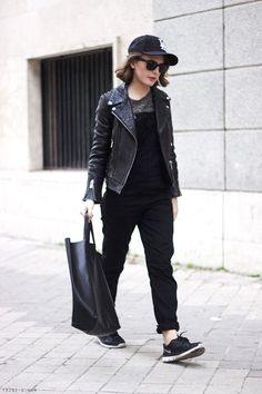 Trini   motorcycle jacket black outfit