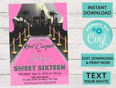 Sweet 16 Invitations, Birthday Invitations, Hollywood Sweet 16, Sixteenth Birthday, Pink Carpet, Man Party, Sweet 16 Parties, Photo Center, Sweet Sixteen