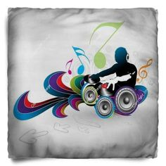This Simple Rock N Roll DJ Throw Pillow makes a clean accent pillow for your bed.
