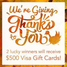 Two $500 Visa Gift Cards! (11/30/2016) {us} via... IFTTT reddit giveaways freebies contests