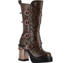 Women's Hades Harajuku - Brown with FREE Shipping & Exchanges. The Harajuku is a steam punk captain boot with a stitched inner front, an outer front fastened by