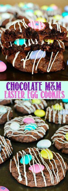 Chocolate M&M Easter Egg Cookies Easter Snacks, Easter Treats, Easter Recipes, Holiday Recipes, Easter Desserts, Easter Food, Sweet Desserts, Easter Bunny, Easter Eggs