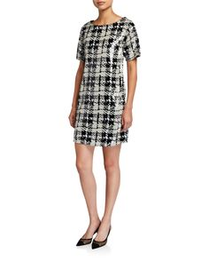 Laundry By Shelli Segal Sequin Plaid T-shirt Dress In Black/white Fit Flare Dress, Fit And Flare, Short Sleeves, Short Sleeve Dresses, Laundry By Shelli Segal, Sequin Dress, Shirt Dress, T Shirt, Dress Outfits