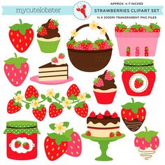 Strawberries Clipart Set - clip art set of strawberries, strawberry, jam, cake, fruit - personal use, small commercial use, instant download