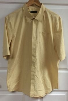 Burberry Prorsum Solid Yellow Hidden Button Up Shirt Size 17 43 Short Sleeve Top #Burberry