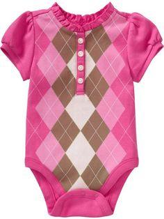 pink argyle onesie
