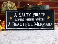 Beach Sign A Salty Pirate Beautiful Mermaid Plaque Coastal Sign Beach Couple, Painted Wood, Mermaid Decor, Pirate Decor, Pirate Mermaid Gift A Salty Pirate lives here with A Beautiful Mermaid Perfect for the Mermaid Sign, Mermaid Beach, Ocean Beach, Beach Wood Signs, Pirate Decor, Couple Beach, Couple Fun, Mermaid Bathroom, Fun Signs