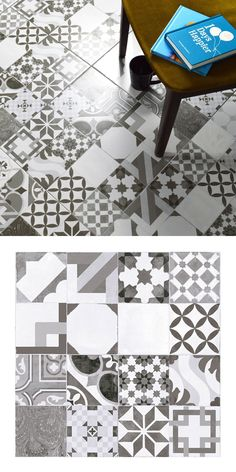 These Malone Black & White Tiles are perfect for creating a monochrome statement floor. Made from ceramic, they consist of a mix of vintage encaustic styled patterns.