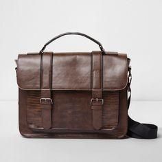 Brown snakeskin front buckle satchel bag