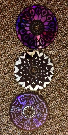 Mandalas made from old CD's... remind me of stained glass