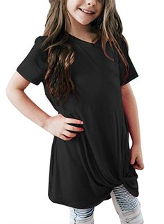 0b8c511c422 Bulawoo Girls Clothing Casual Short Sleeve Summer Tops Little Girls Knot  Front Fashion Tee Shirts Size 4-13 4-5 Years Blue