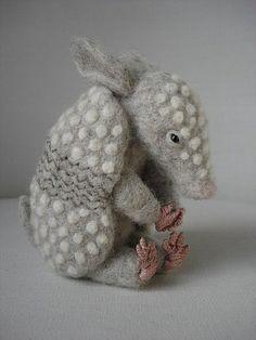 Needle Felted Baby Armadillo by Tamara111, via Flickr.