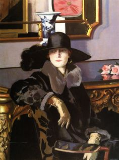 A Lady in Black (c.1925). Francis Campbell Bolleau Cadell (Scottish, 1883-1937). Oil on canvas. Kelvingrove Art Gallery and Museum.