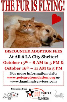 Hey #LA #Socal don't miss .@PetCareFndation's adopt a #pet this weekend! The furkids are counting on you! Please share!