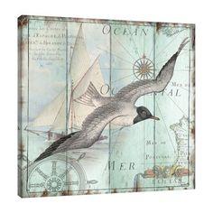 Highland Dunes 'La Mer: Seagull' Graphic Art Print on Wrapped Canvas Deco Marine, Foto Transfer, Nautical Art, Sea Art, Coastal Art, Beach Crafts, Paper Background, Beach Themes, Vintage Images