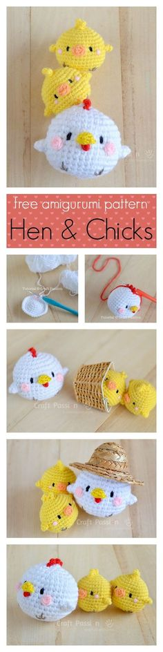 Free hen & chicks amigurumi pattern with tutorial photos to refer, designed by AmiguruMEI. Perfect to make for the Easter and Rooster year celebration. Bunny Crochet, Crochet Mignon, Crochet Diy, Easter Crochet, Crochet Patterns Amigurumi, Crochet Crafts, Crochet Dolls, Crochet Projects, Amigurumi Tutorial