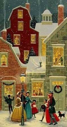 Victorian Christmas Card Houses Village