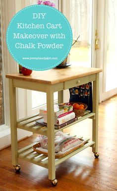 Custom Woodworking Furniture Easily make over a kitchen cart with chalk powder and this tutorial from Pretty Handy Girl! Best Woodworking Tools, Woodworking Workbench, Easy Woodworking Projects, Woodworking Furniture, Custom Woodworking, Woodworking Workshop, Diy Furniture Projects, Diy Wood Projects, Handmade Furniture