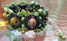 Micro Macrame Bracelet with Toho Cube Hybrid Turquoise  9mm Picasso Rondelle Czech Glass Beads. $32.00, via Etsy.