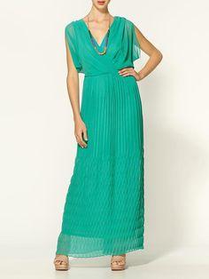 Pleated Turquoise Maxi Dress