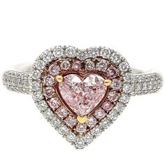 Antique Pink Diamond Rings - 360 For Sale at Pink Diamond Ring, Baguette Diamond Rings, Unique Diamond Rings, Diamond Cluster Ring, Diamond Wedding Rings, Bridal Rings, Diamond Heart, Unique Rings, Beautiful Rings