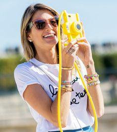 Graphic tee + statement shades. // Photo: The Stylograph #PFW #streetstyle