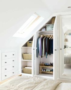 Four Attic Renovation Ideas to Give New Life to Unused Space - Attic Basement Ideas Astounding Diy Ideas: Attic Wood Living Spaces attic art scrapbook pages.Attic Wood Living Spaces a Attic Bedroom Closets, Tiny Bedroom Storage, Small Bedroom Wardrobe, Attic Bathroom, Closet Bedroom, Basement Bathroom, Bathroom Ideas, Attic Storage, Ladder Storage