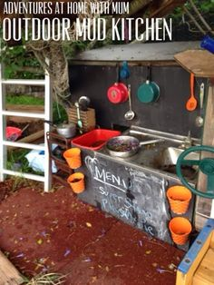 Adventures at home with Mum: Mud Kitchen Outdoor Play Renovation also a neat water wall. Outdoor Learning Spaces, Kids Outdoor Play, Outdoor Play Areas, Backyard Play, Outdoor Playground, Outdoor Fun, Playground Ideas, Backyard Ideas, Play Yard