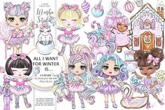 Winter Clipart, Christmas Clipart, Christmas Candy, Whimsical Christmas, Fairy Clipart, Pink Planner, Drawing Clipart, Quilt Labels, Cute Dragons
