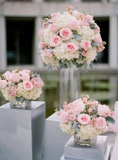 3 PC. WEDDING/SPECIAL OCCASION TABLE CENTERPIECES. APPROXIMATE SIZES ARE LISTED BELOW: 1-9 ROUND X 12 TALL VASE 2-6 ROUND X 6 TALL VASES YOUR CHOICE OF FLOWERS, COLORS, AND ACCENT RIBBONS. ADDITIONAL PIECES MAY BE ADDED AT A DISCOUNTED PRICE AND COMBINED SHIPPING ON MULTIPLE SETS. PLEASE ALLOW 3-5 DAYS FOR PRODUCTION.