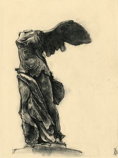 One of my favorite sculptures ever. Its been a couple weeks since Ive been able to make anything I liked, so Im really glad this came out decent. winged nike of samothrace Greek Paintings, Winged Victory, Beautiful Dark Art, Dope Tattoos, Greek Art, Future Tattoos, Art Inspo, Art History, Art Reference