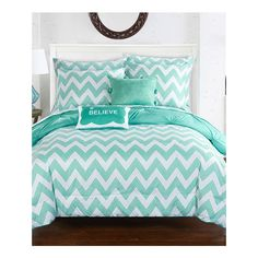 Aqua Chevron Reversible Microfiber Comforter Set ❤ liked on Polyvore featuring home, bed & bath, bedding, comforters, reversible comforter, twin bedding, chevron twin comforter, twin comforter sets and chevron pillow case