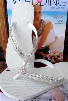 953474c2cd5b Custom Wedding Flip Flops Glass Slippers Blushing Bride Lotus w  Swarovski  Crystal Rhinestone Bead Beach Havaianas Cariris Wedge heel Shoe