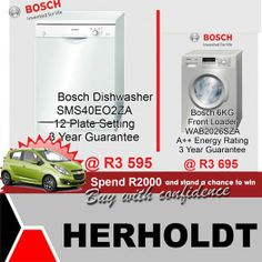 This weeks specials from the Herholdt Group include these Bosch products reduced to unbelievable prices. Remember you only need to spend to put yourself into the lucky draw to win a Chevy Spark. Bosch Appliances, Home Appliances, Plate Sets, Inventions, Chevy, Dishwasher, Home Improvement, Household
