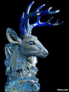 "Beautiful 8.1"" Carved Lapis Lazuli Deer Head Sculpture. Stone origin : Afghanistan. Via rikoo.com"