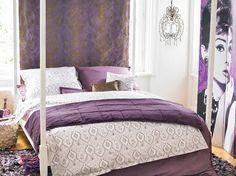 purple bedroom design vintage decoration elements