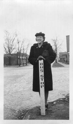 Vintage Photo..Bus Stop, 1940's Original Found Photo, Vernacular Photography by iloveyoumorephotos on Etsy