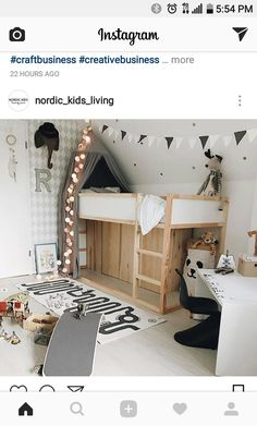 Inspiring and Creative Kids Bedroom Decorating Ideas for Girls & Boys - Ikea Bunk Bed Hacks Little Boys Rooms, Little Girl Rooms, Little Boy Beds, Baby Bedroom, Girls Bedroom, Ikea Bunk Bed Hack, Ikea Beds, Baby Zimmer Ikea, Casa Kids