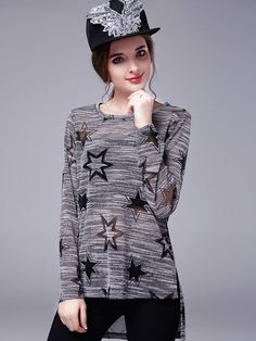 $25.00 Gray Long Sleeve Round Neck Casual Shirt - Long Sleeve Blouses - Blouses - Tops