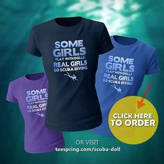Funny Diver Diving Girls Womens TShirt I/'d Rather Live Under the Sea Tee