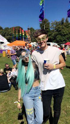 Zoe Sugg & Mark Ferris at Brighton pride 2016 Barely registered her