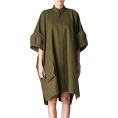 YOHJI YAMAMOTO Oversized cotton shirt dress (Khaki