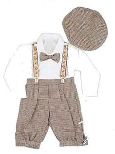 Infant & Toddler Boys Vintage Style Knickers Outfit 5-pc with Suspenders, Bowtie & Newsboy Cap