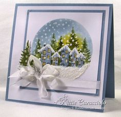 IO houses and stampscape trees snowy village scene card - layout - colors - bjlsnowy village card - layout - Liquid Applique for the snow -Inspired Village by - Cards and Paper Crafts at SplitcoaststamperslCome and check out how I made this beautiful Homemade Christmas Cards, Christmas Cards To Make, Xmas Cards, Homemade Cards, Handmade Christmas, Holiday Cards, Christmas Tag, Christmas Cookies, Hand Made Greeting Cards