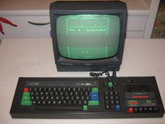 Amstrad CPC 464 monochrome, 64K RAM. I loved it so I decided to save to buy my first computer.