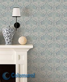 Distressed Blue Damask Wallpaper - Vintage Style Weathered Living Room Wall Decor, Old Victorian Shabby Chic Bathroom Damask Wallpaper, Wallpaper Samples, Bathroom Wallpaper, Wall Wallpaper, Epoxy Floor Basement, Baños Shabby Chic, Chic Bathrooms, Room Wall Decor, Vintage Fashion