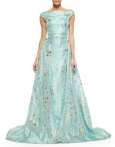 Christian Siriano Gold-Flecked Brushstroke-Print Overskirt Trumpet Gown: If only it were white